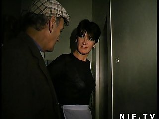 French grown up gets DP encircling a gangbangwith Papy Voyeur