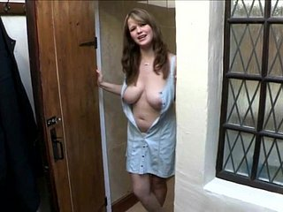 Morose roomate shows the brush chubby boobs - Downblouse